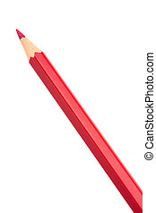 Red colouring crayon pencil isolated on white background