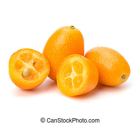 Cumquat or kumquat isolated on white background close up
