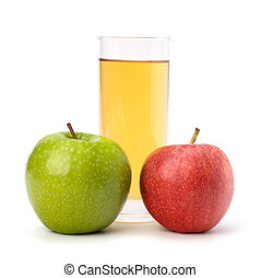 apple juice in glass and apple isolated on white background