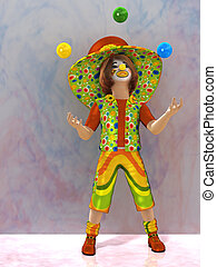 Clown - a cheerful clown in a cap and juggling balls