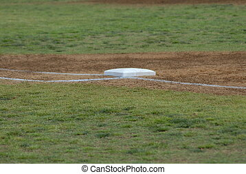 First base - A close view of first base on a baseball field