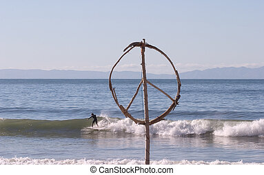 Peace Surfer - A peace sign made out of beach flotsam and...