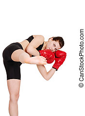 female kick boxer - isolated female kick boxer