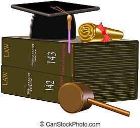 law grad symbols - graduate of law school on white
