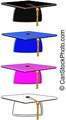 mortar boards - grad mortar boards on white in various...