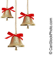 golden bells - isolated gold Christmas bells hanging