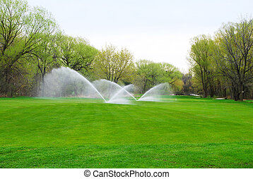 Golf Course being watered with sprinkler