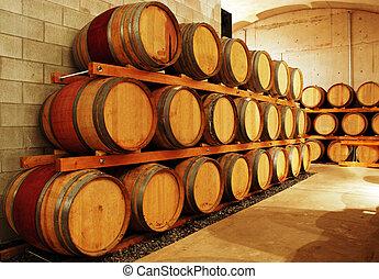 wine barrel storage area