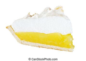 fatia, limão, isolado, merengue, Torta