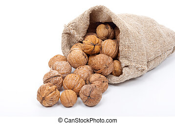Burlap sack with walnuts