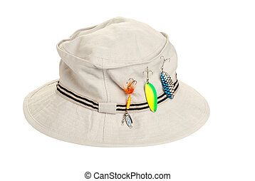 kahki hat with fishing tackle - isolated kahki hat with...