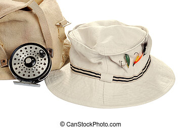 kahki hat and fly fishing equipment - isolated kahki hat...