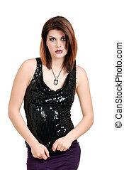 woman wearing black sequin top