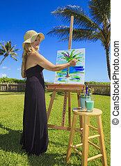 Pintura, hembra, artista