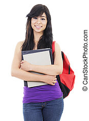 Female student - Stock image of female student, isolated on...