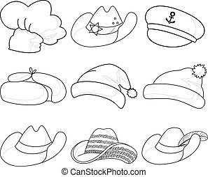 Hats, set contours - Vector, set contours of various hats:...