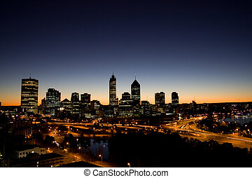 Perth Skyline at Sunrise - Perth City, Western Australia...
