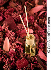 Scented Fragrance Sticks surrounded by lovely potpourri - A...