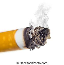 stairway to hell out of cigarettes isolated on a white...