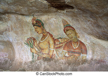 Sigiriya cave paintings - Ancient cave paintings at the rock...