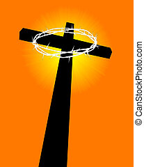 cross and crown of thorns on an orange background