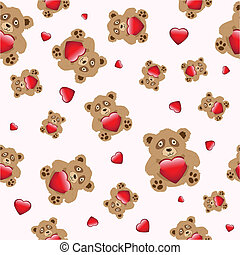Bear with heart seamless