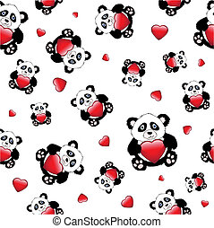 Panda with heart seamless