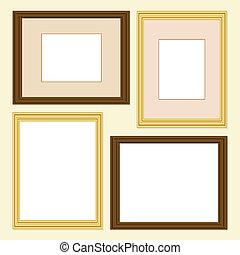 Picture frames in gold and wood finish, with and without...