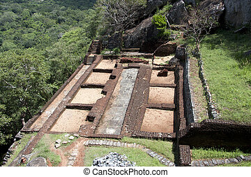 Ancient Sigiriya - Part of the ruins of the palace and...