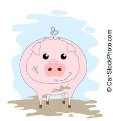 Cute pig in mud
