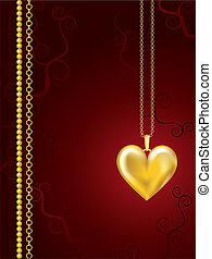 Gold locket on red floral - Gold heart locket on red floral...