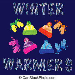 Winter warmers - Knitted woolly childrens hats and matching...