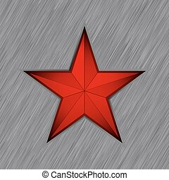 Red star with in steel background. EPS 8