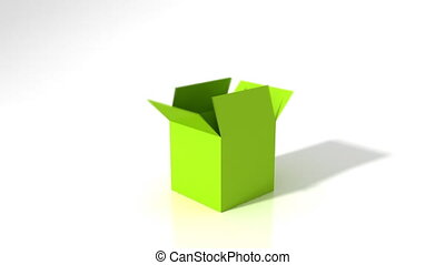 Out of the Box Success - Green motivational words jumping...