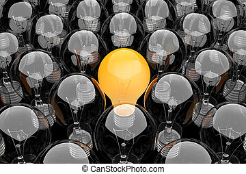 Group of light bulbs - 3d render of a group of light bulbs