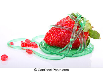 strawberry and molecular dessert on white background