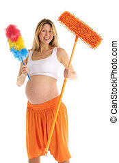 pregnant woman with a mop and brush