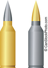 rifle cartridge on white background vector