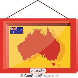 Australia framed under glass