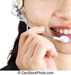 Contact Us - Friendly Customer Representative with headset...