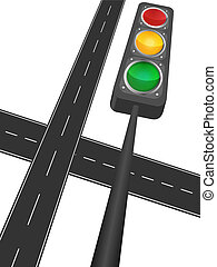 Motorway and traffic light on a white background