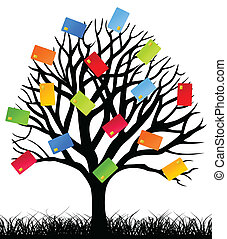 Business a tree - On a tree credit cards grow. A vector...