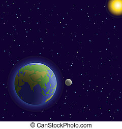 Earth in space - Vector, space: planets mother Earth, moon,...