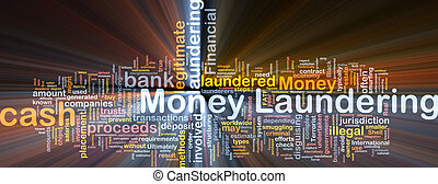 Money laundering background concept glowing