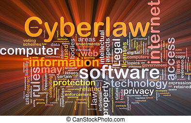 Cyberlaw background concept glowing