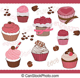 Set of Cute Cupcakes for design