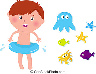 Happy kid, crab, octopus, fishes and sea stars. Vector Illustration.
