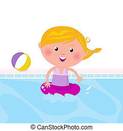 Cute happy girl swimming in water pool - Cute child in...