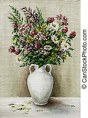 Wild flowers in a white amphora - Picture oil paints on a...