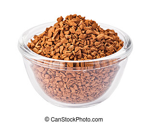 Instant granulated coffee heap in transparent glass bowl, isolated on white